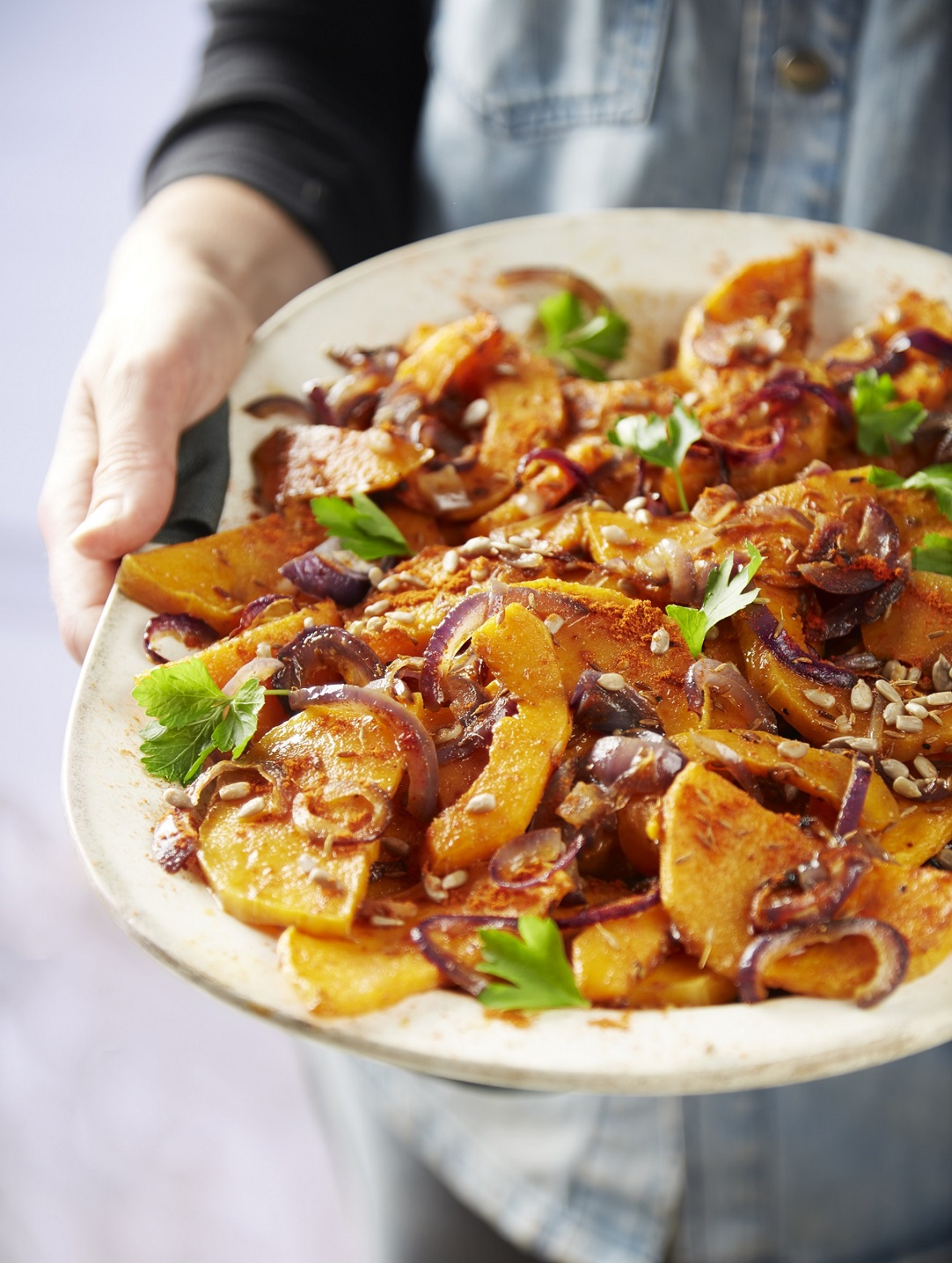 Spiced Squash and Red Onion Salad