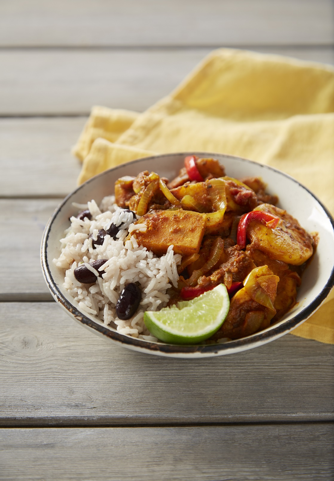 Sweet Potato, Black Bean and Plantain Carribean Curry