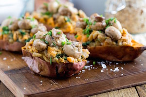Garlic Mushroom Stuffed Sweet Potato