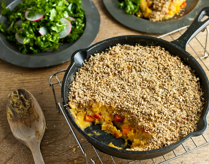 Root Vegetable Crumble with Sunflower Crust