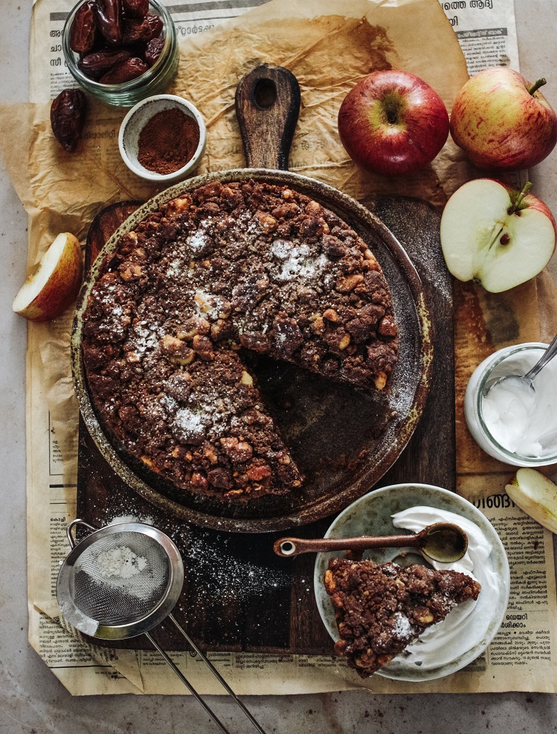 Spiced Apple, Ginger Cake with a Pecan crumb topping