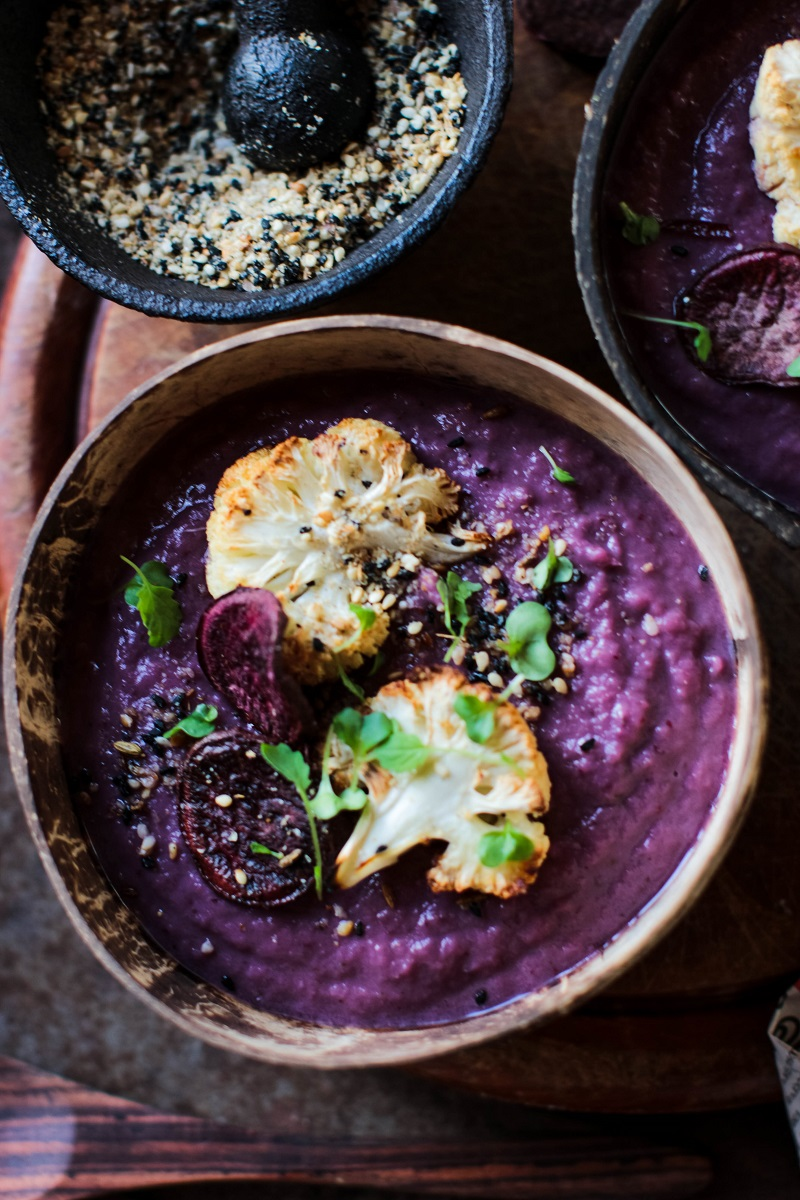 Roast Purple Sweet Potato & Cauliflower Soup