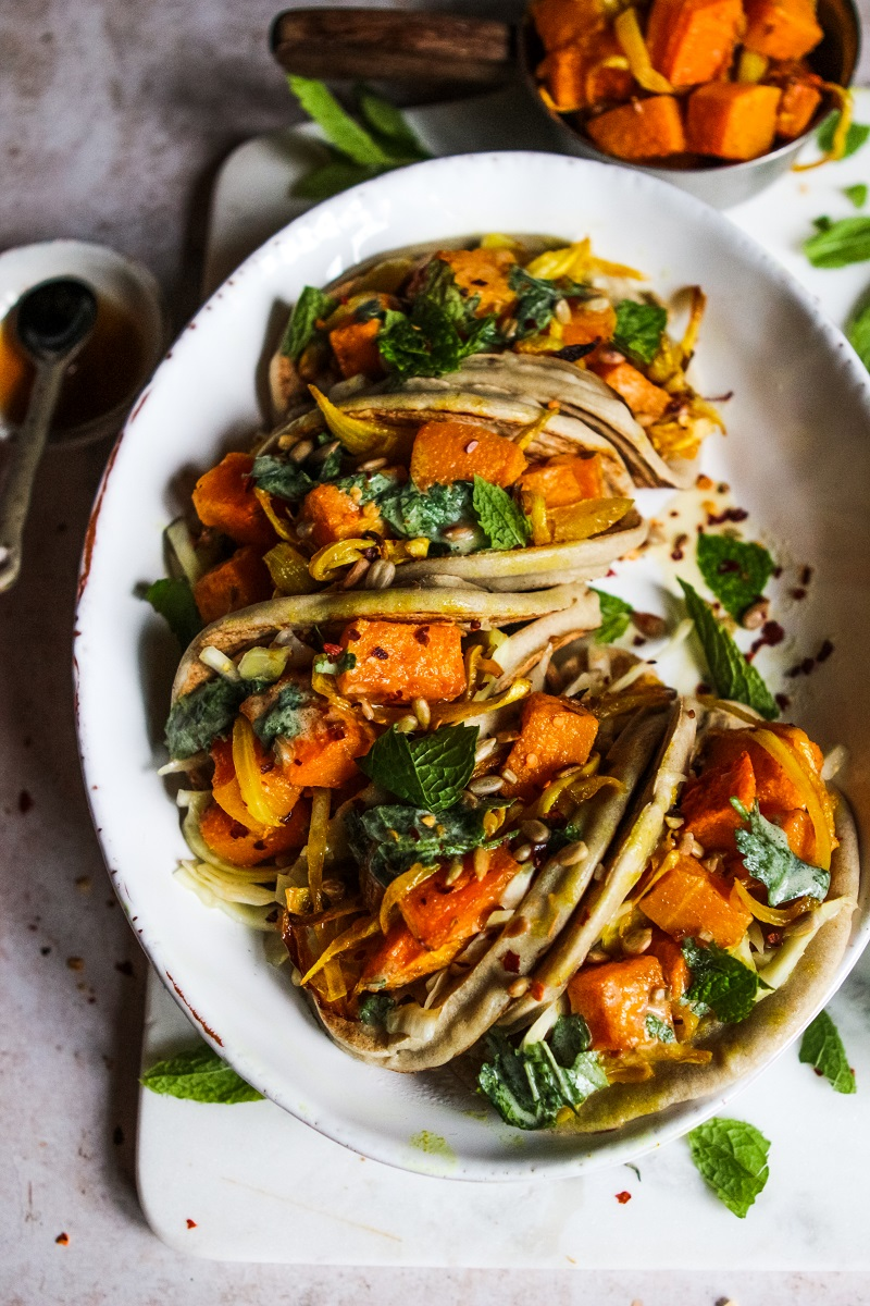 Spiced Roast Squash Tacos with Slaw